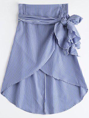 High Waist Ruffled Striped Asymmetric Skirt - Blue M