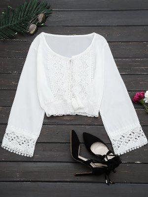 Lace Panel Tassels Crop Blouse - White M