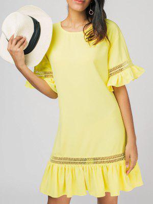 Ruffles Sheer Casual Dress - Yellow Xl