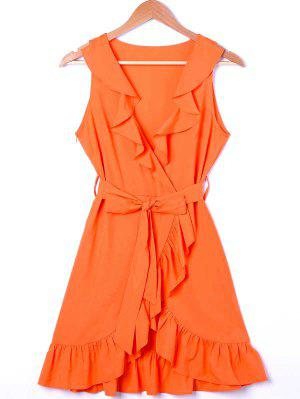 Ruffle Trim Surplice Mini Sun Dress - Orange M