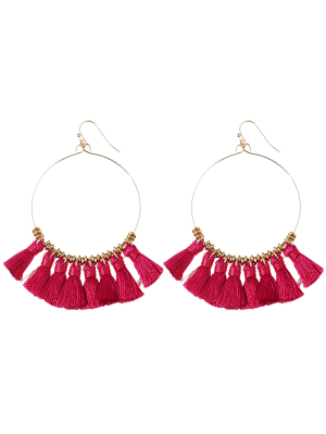 Tassels Cicle Hoop Drop Earrings - Rose Red