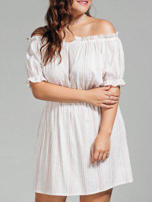 Polka Dot Más Tamaño Vestido De Hombro - Blanco Xl
