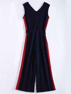 Combinaison Sans Couture En V à Manches Longues - Bleu Violet L