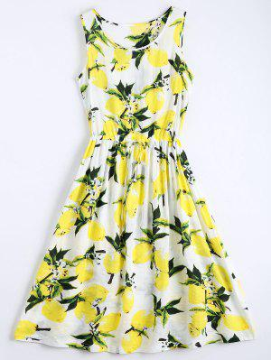 Lemon Print Drawstring Sleeveless Dress - White L