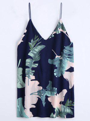 Leaves Print Mini Cami Shift Dress - Purplish Blue S