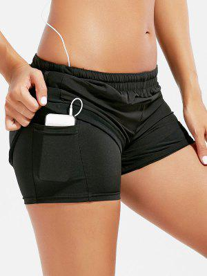 Mesh Trim Elastic Waist Running Shorts - Black M