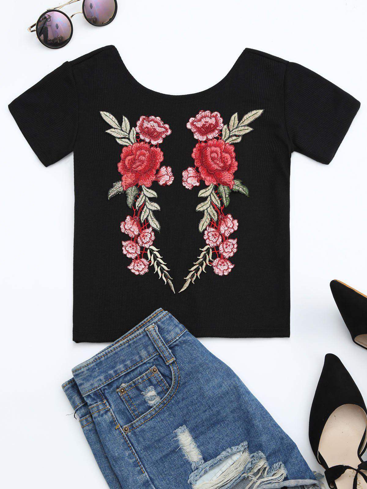 Floral Patched Ribbed Knitted Tee 216861507