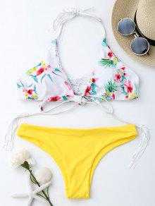Macrame Tropical Print Wrap Bikini Set - Yellow L
