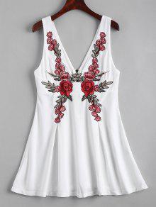 Back Zipper Floral Embroidered Mini Dress - White 2xl