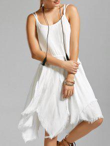 فستان طويل مثير قصير غير متماثل - أبيض S