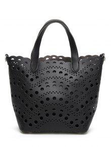 حقيبة يد بتقسيمات مثقبة مع حقيبة داخلية - أسود