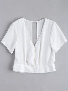 Cut Out Button Up Chiffon Top - White S