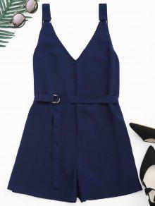 Backless Belted Chiffon Romper - Purplish Blue L