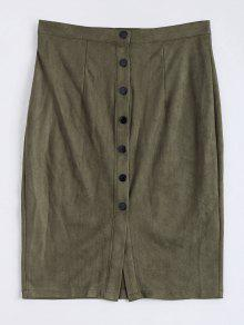 Faux Suede Button Up Pencil Skirt - Army Green Xl