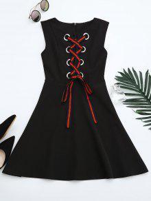Vestido De Encaje Sin Mangas - Negro M