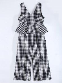 Sleeveless Flounce Checked Jumpsuit - Checked L