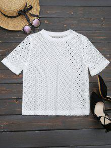 Curled Sleeve Sheer Lace Top - White M