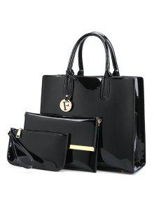 Buy Patent Leather 3 Picecs Handbag Bag - BLACK