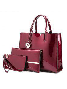3 قطع حقائب اليد بجلد لماع - نبيذ أحمر