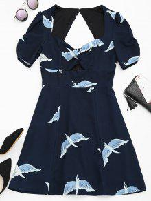 Robe A Ligne Ajourée Imprimée Graphique Des Oiseaux  - Bleu Violet Xl
