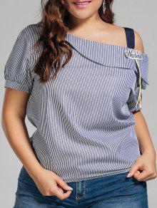Plus Size Stripes Cold Shoulder Top - Black 4xl