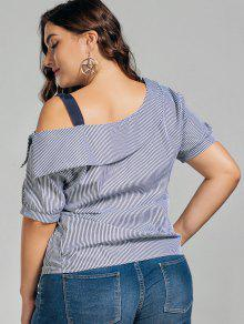fd12a4eb580dea 59% OFF] 2019 Plus Size Stripes Cold Shoulder Top In BLACK | ZAFUL