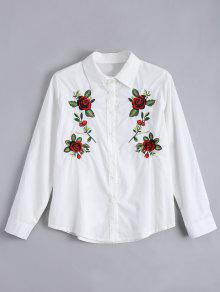 Floral Patched Button Up Shirt - White M