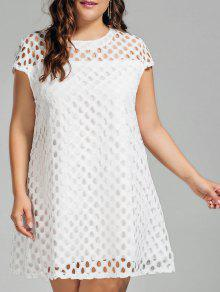 Lace Plus Size Cut Out Dress - White 2xl