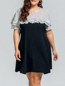 Plus Size Shiny Panel Ruffles Dress - Black 3xl