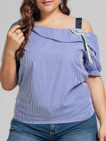 Plus Size Stripes Cold Shoulder Top - Blue Xl