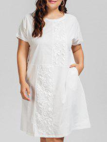 Voile Panel Plus Size Embroidered Dress - White 2xl