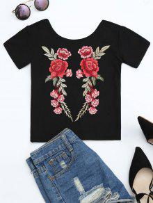 Floral Patched Ribbed Knitted Tee - Black M