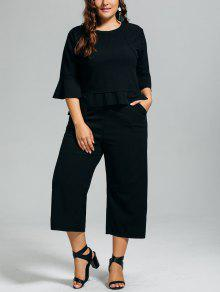 High Low Blouse And Capri Wide Leg Pants Plus Size Suit - Black 3xl