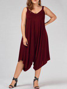 Plus Size V Neck Baggy Capri Jumpsuit - Wine Red 2xl