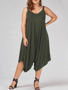 Plus Size V Neck Baggy Capri Jumpsuit - Army Green 2xl