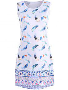 فستان طباعة الريشة ملون - أبيض Xl