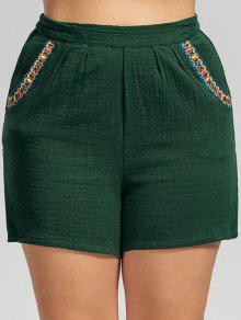 High Waisted Plus Size Embroidered Shorts - Deep Green 3xl