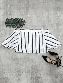 Off The Shoulder Flare Sleeve Striped Blouse - White S
