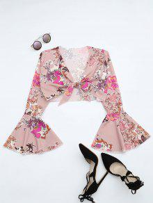 Floral Print Flare Sleeve Crop Blouse - Floral Xl