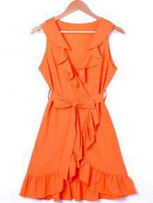 Ruffle Trim Surplice Mini Sun Dress - Orange M