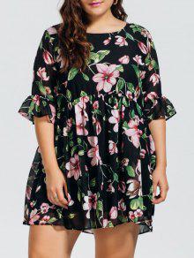 فستان كشكش الحجم الكبير طباعة الأزهار شيفون - الأزهار 2xl