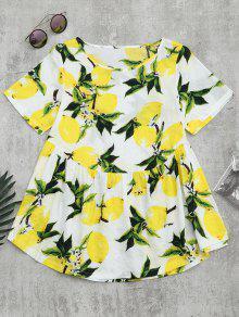 Cuello Redondo De Impresión Limón Blusa - Blanco L