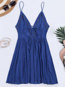 Plunge Low Back Lace Up Sundress - Blue L