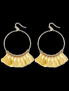Tassels Cicle Hoop Drop Earrings - Yellow