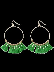Tassels Cicle Hoop Drop Earrings - Green