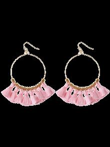 Tassels Cicle Hoop Drop Earrings - Pink