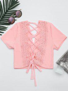 Plunging Neck Back Lace Up Crop Top - Pink M
