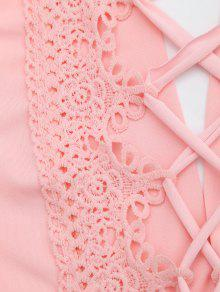 03d318bf9c1 19% OFF] 2019 Plunging Neck Back Lace Up Crop Top In PINK   ZAFUL
