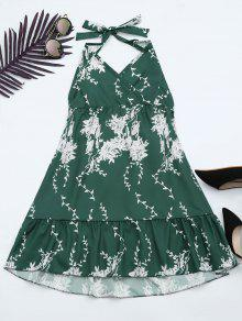 Halter Floral Print Ruffle Hem Dress - Green Xl