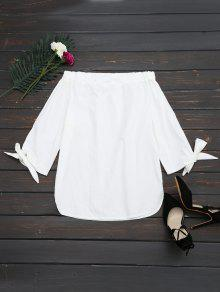 Off The Shoulder Longline Blouse - White M